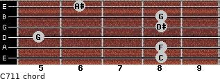 C-7/11 for guitar on frets 8, 8, 5, 8, 8, 6