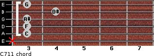 C-7/11 for guitar on frets x, 3, 3, 3, 4, 3