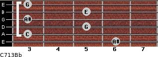 C7\13\Bb for guitar on frets 6, 3, 5, 3, 5, 3