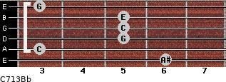 C7\13\Bb for guitar on frets 6, 3, 5, 5, 5, 3