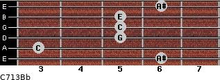 C7\13\Bb for guitar on frets 6, 3, 5, 5, 5, 6