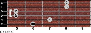 C7\13\Bb for guitar on frets 6, 7, 5, 5, 8, 8