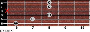 C7\13\Bb for guitar on frets 6, 7, 8, x, 8, 8