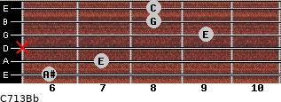 C7\13\Bb for guitar on frets 6, 7, x, 9, 8, 8