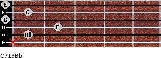 C7\13\Bb for guitar on frets x, 1, 2, 0, 1, 0