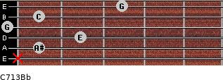 C7\13\Bb for guitar on frets x, 1, 2, 0, 1, 3