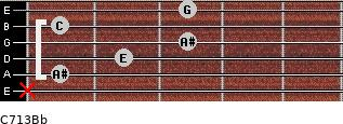 C7\13\Bb for guitar on frets x, 1, 2, 3, 1, 3