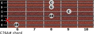 C7\6\A# for guitar on frets 6, x, 8, 9, 8, 8