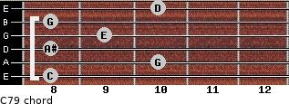 C7/9 for guitar on frets 8, 10, 8, 9, 8, 10