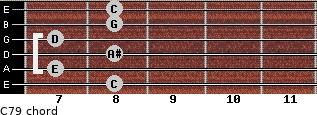 C7/9 for guitar on frets 8, 7, 8, 7, 8, 8