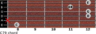 C7/9 for guitar on frets 8, x, 12, 12, 11, 12