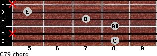 C7/9 for guitar on frets 8, x, 8, 7, 5, x