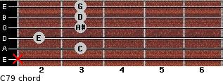 C7/9 for guitar on frets x, 3, 2, 3, 3, 3