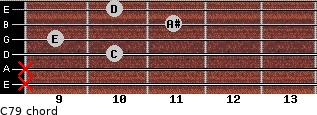 C7/9 for guitar on frets x, x, 10, 9, 11, 10