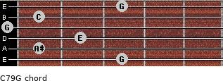 C7\9\G for guitar on frets 3, 1, 2, 0, 1, 3