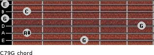 C7\9\G for guitar on frets 3, 1, 5, 0, 1, 0