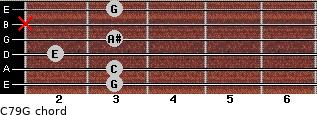 C7\9\G for guitar on frets 3, 3, 2, 3, x, 3