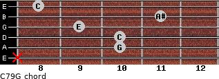 C7\9\G for guitar on frets x, 10, 10, 9, 11, 8