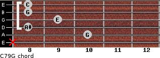 C7\9\G for guitar on frets x, 10, 8, 9, 8, 8