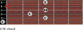 C7\E for guitar on frets 0, 3, 2, 3, x, 3