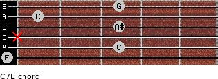 C7\E for guitar on frets 0, 3, x, 3, 1, 3