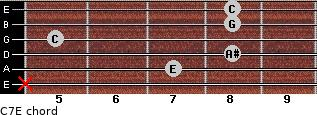 C7\E for guitar on frets x, 7, 8, 5, 8, 8