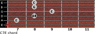 C7\E for guitar on frets x, 7, 8, 9, 8, 8
