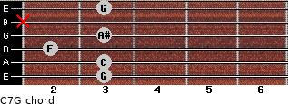 C7\G for guitar on frets 3, 3, 2, 3, x, 3