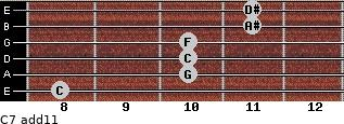 C-7(add11) for guitar on frets 8, 10, 10, 10, 11, 11