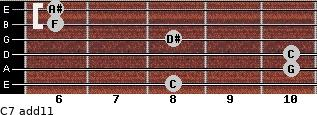 C-7(add11) for guitar on frets 8, 10, 10, 8, 6, 6