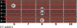 C-7(add11) for guitar on frets 8, x, 8, 8, 6, x