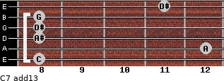 C-7(add13) for guitar on frets 8, 12, 8, 8, 8, 11