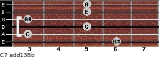 C7(add13)\Bb for guitar on frets 6, 3, 5, 3, 5, 5