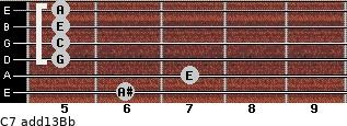 C7(add13)\Bb for guitar on frets 6, 7, 5, 5, 5, 5