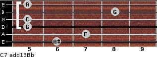 C7(add13)\Bb for guitar on frets 6, 7, 5, 5, 8, 5