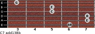 C7(add13)\Bb for guitar on frets 6, 7, 7, 5, 5, 3