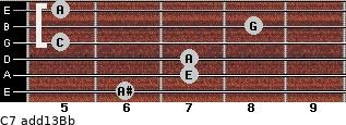 C7(add13)\Bb for guitar on frets 6, 7, 7, 5, 8, 5