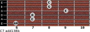 C7(add13)\Bb for guitar on frets 6, 7, 7, 9, 8, 8