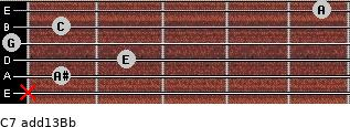 C7(add13)\Bb for guitar on frets x, 1, 2, 0, 1, 5