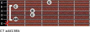 C7(add13)\Bb for guitar on frets x, 1, 2, 2, 1, 3