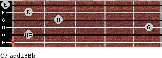 C7(add13)\Bb for guitar on frets x, 1, 5, 2, 1, 0
