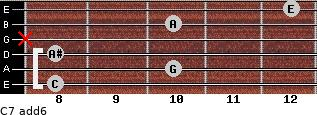 C7(add6) for guitar on frets 8, 10, 8, x, 10, 12