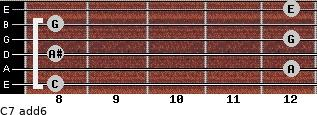 C7(add6) for guitar on frets 8, 12, 8, 12, 8, 12