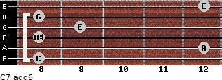 C7(add6) for guitar on frets 8, 12, 8, 9, 8, 12