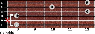 C7(add6) for guitar on frets 8, x, 8, 12, 10, 12