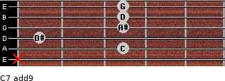 C-7(add9) for guitar on frets x, 3, 1, 3, 3, 3
