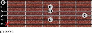 C7(add9) for guitar on frets x, 3, 5, 3, 3, 0