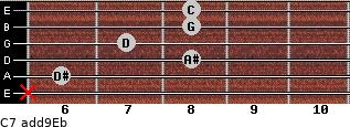 C-7(add9)\Eb for guitar on frets x, 6, 8, 7, 8, 8