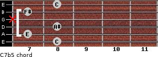 C7b5 for guitar on frets 8, 7, 8, x, 7, 8