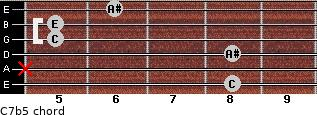 C7b5 for guitar on frets 8, x, 8, 5, 5, 6